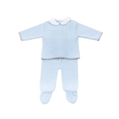 New Arrival Stunning Baby Boy Blue Knitted Top and Trousers with Collar Jumper
